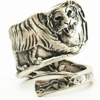 Sterling Silver Spoon Ring Vintage Tiger Pattern, Handmade in Your Size (2611)