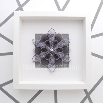floral home decor, single flower, modern minimalist wall art, grey wall art, paper flower for wall, housewarming gift, unique gift for women