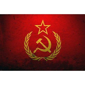 grunge style COMMUNIST SOVIET UNION RED FLAG poster 24X36 CLASSIC new rare
