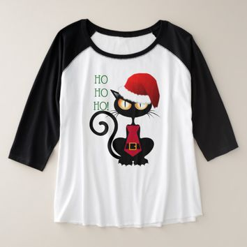 "Unhappy Santa Cat ""HO HO HO!"" Plus Woman's TShirt"