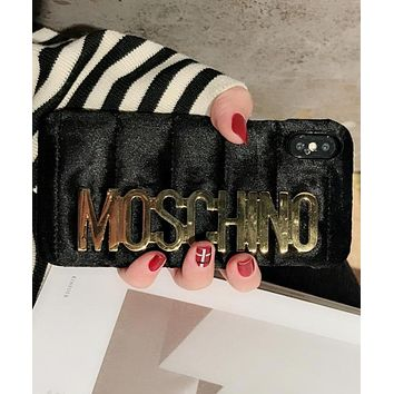 Moschino iPhone 7  8 iPhone 7 8 plus - Popular Cute Metal Logo Phone Case For iphone 6 6plus  iphone X Black
