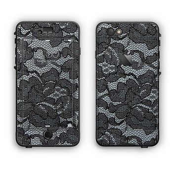 The Black Lace Texture Apple iPhone 6 LifeProof Nuud Case Skin Set