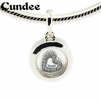 Floating Locket Beads Fits Pandora Charms Bracelets Crystal Glass 925 Sterling Silver