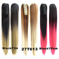 "22""/55cm  Long Straight Colorful Ombre Claw Jaw Pony tail Clip In Synthetic Ponytail Hair Extensions Hair Piece 12 Colors"