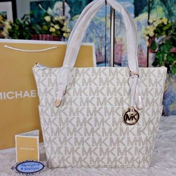 NWT MICHAEL KORS Jet Set MK EAST WEST Top Zip Tote Bag PVC/Leather VANILLA $288