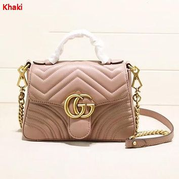 GUCCI Fashion New Leather Shoulder Bag Shopping Leisure Women Khaki
