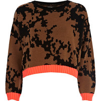 River Island Womens Brown paintball cropped sweater