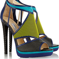 Jimmy Choo - Lythe honeycomb leather and suede sandals