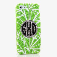 Green Spikes Personalized Monogram Design (style MO_2012)