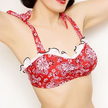 Sale Abigail Bikini Top in Red Bandana with Ties and White Ruffles (XS, L, XL)