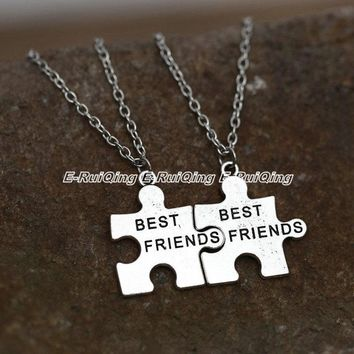 2PC/Set Beautiful Best Friends Pendant Necklace Necklace Love Friendship Jewelry Gift Trendy Boy Girl Lovers' Jewelry
