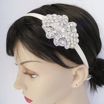 Bridal Rhinestone Headband Ribbon Headband by BellaCescaBoutique