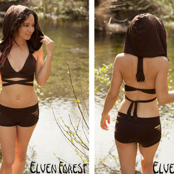 RESERVED for DEBORAH:  PREMADE Hooded Swimsuit Bikini Top with Convertible Wrap and Tie Straps- Hood is removable