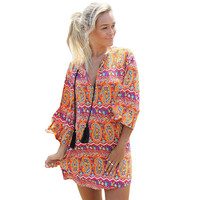 Multi Color Paisley Print Dress