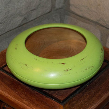 Wooden Bowl, Hand Painted Green