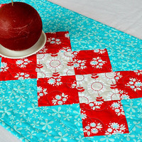 Quilted Summer Table Runner, Turquoise Red Table Topper, Floral Table Quilt, Quiltsy Handmade