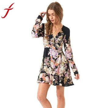 Floral Printed Autumn Dress Womens Street Style Sexy Deep V-neck Long Sleeve Dress Evening Party A-Line Dress vestidos de festa