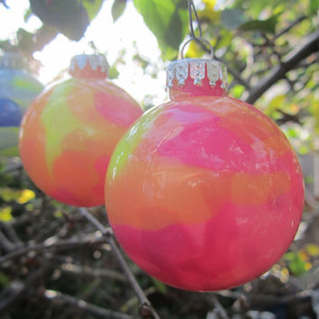 Glass Ornament, Hot Pink and Neon Yellow, Hand painted glass, glow in the dark paint, Green Glow Pigment, OOAK, Christmas decoration