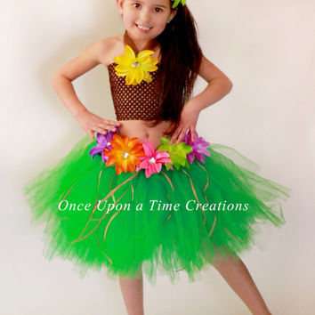 Luau Hawaiian Grass Hula Skirt Tutu Dress Set -  Halloween Costume - Girls Size 12M 2T 3T 4T 5T 6 7 8 10 12 - Pool Party Birthday Outfit