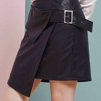 Black Buckle Detail Asymmetric Hem Pu Skirt