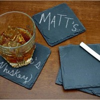 CHALKBOARD SLATE COASTERS | KEEP TRACK OF YOUR DRINK / Buy it now - Playwho.com