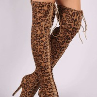 Liliana Leopard Lace Up Stiletto Heeled Over-The-Knee Boots