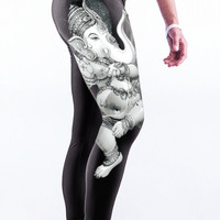 Buddha Elephant Print Stretch Yoga Pants