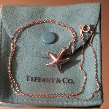 Elsa Peretti Tiffany and Co. Starfish Pendant and Necklace, Sterling Silver Jewelry