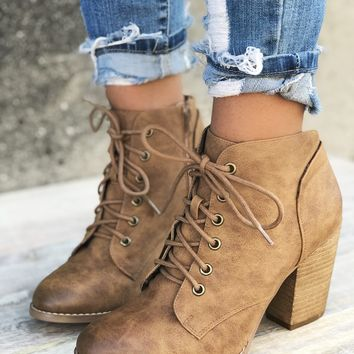 Stevo Lace Up Tan Bootie