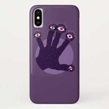 Creepy Hand Has Weird Fingers With Watching Eyes iPhone X Case