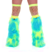 Turquoise & Yellow  Cow Print Fluffy Legwarmers hen party furries rave cyber UV