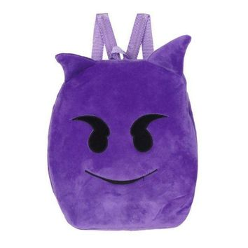 ICIKU7Q Cute Emoji Emoticon Shoulder School Child Bag Backpack Satchel Rucksack Devil plush face Plush backpacks