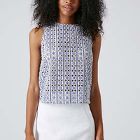 Cut-out Gingham Shell Top - Navy Blue