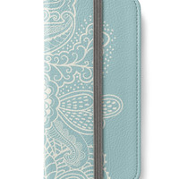 iPhone 6 Wallet Mehndi Light Blue  iPhone 6S Plus Wallet Case  Woman's Lady Wallet Gift For Her