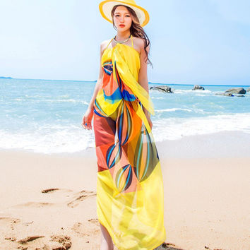 Summer Scarf Women Beach Swimsuit Cover Up Dress Plus Size