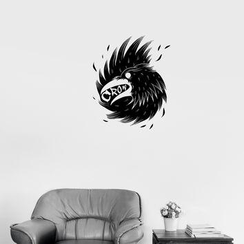 Wall Decal Bird Beak Black Crow Wing Feathers Vinyl Sticker Unique Gift (ed609)