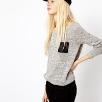 Esprit Knitted Leather Look Pocket Sweater