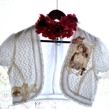 Gypsy shrug, Bohemian embellished white jacket, French cottage chic, Eyelet top, Romantic summer shrug, wrap,  True rebel clothing