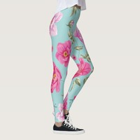 Vintage pink teal floral leggings