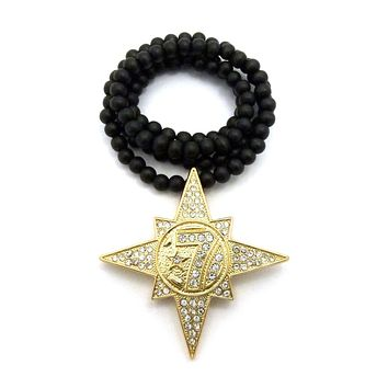 """Gold 7 Star Five Percent Nation Allah Pendant Charm 36"""" Wood Bead Chain Necklace"""