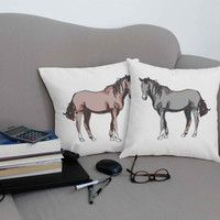 Watercolor Horse Print Pillows - 100% Cotton Canvas Pillow Covers and or Cushions, Horse Lovers Gift, Equestrian Gifts, Horse Room Decor