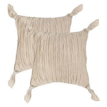 Safavieh 2-piece Ruche Knots Throw Pillow Set (Brown)