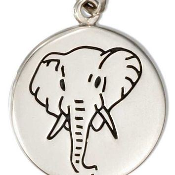 Sterling Silver Round Disk With Elephant Charm