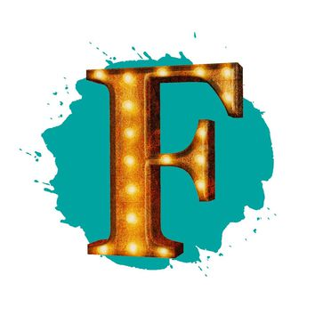 "24"" Letter F Lighted Vintage Marquee Letters (Rustic)"