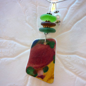 Green Sea Glass Necklace Red Beach Pottery Shard Jewelry Fall Pendant Sterling Silver
