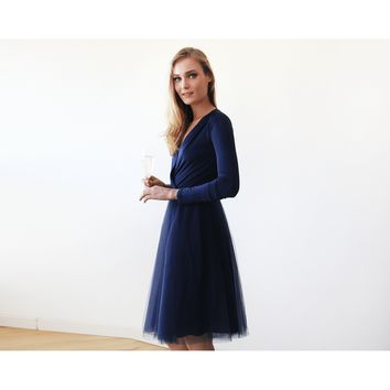 Navy Blue Long Sleeve Tulle Wedding Dress