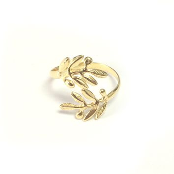 Sterling Silver 18k Gold Overlay Adjustable Olive Leafs Ring, Size 6