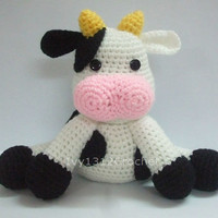 "Milk Cow 7.87"" - Big Finished Handmade Amigurumi crochet Dairy cow doll Home decor birthday gift Baby shower toy"