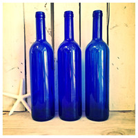 SALE Three cobalt blue glass bottles  blue supply bottles / blue bottles / supply bottles / cobalt blue glass