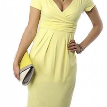 Fit and Flare Dress V-neck Ruched Flowy Pleated Cap Sleeve Dress